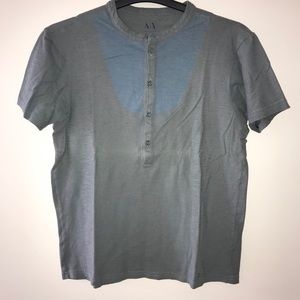 Armani Exchange Gray & Blue Graphic T-shirt